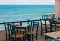 Outdoors cafe sea view crete greece Royalty Free Stock Image