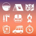 Outdoors camping pictograms collection tourism of compass tent campfire and knife isolated vector illustration Royalty Free Stock Image