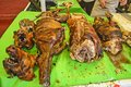 Lamb and pig roast on the grill Royalty Free Stock Photo