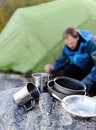 Outdoors man cooking Royalty Free Stock Photo