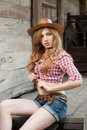 Outdoors portrait beautiful red haired caucasian young woman Royalty Free Stock Photography