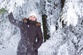 Outdoors portrait of young beautiful woman having fun in winter Stock Images