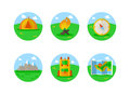 Outdoors tourism camping colorful icons set of compass map tent and backpack isolated illustration