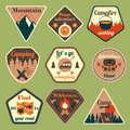 Outdoors tourism camping flat badges set of compass campfire tent and backpack isolated vector illustration Royalty Free Stock Photos
