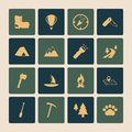 Outdoors Tourism Camping Flat Icons Set Royalty Free Stock Photos