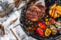 Outdoors winter barbecue Royalty Free Stock Photo