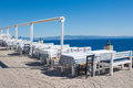 Outdor restaurant at the beach on blue sky Royalty Free Stock Photography