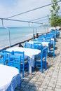 Outdor restaurant at the beach on blue sky Stock Photos