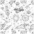 Outer space doodles symbols and design elements spaceships planets stars rocket astronauts satellite comets cartoon icons Stock Photo