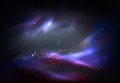 Outer space and galaxy, cosmos panorama Royalty Free Stock Photo