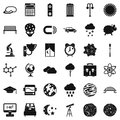 Outer space icons set, simple style Royalty Free Stock Photo