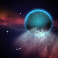Outer space scene with the blue planet and alien spaceship in motion Royalty Free Stock Photo