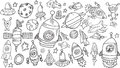 Outer space sketch doodle set vector Stock Photos