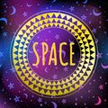 Outer space vector illustration. Magic background. Tribal ornament isolated. Horoscope, zodiac, mystic print and poster. Royalty Free Stock Photo
