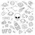 Cute outer space vector objects and writings Royalty Free Stock Photo