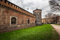 The Outer Wall of Castello Sforzesco (Sforza Castle) in Milan Royalty Free Stock Photo