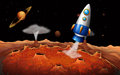An outerspace with a rocket illustration of Stock Image