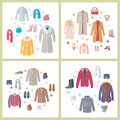 Outerwear Mens and Womens Set of Clothes Accessory Royalty Free Stock Photo
