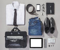 Outfit of business man overhead essentials modern Royalty Free Stock Photos
