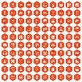 100 outfit icons hexagon orange