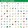 100 outfit icons set, cartoon style