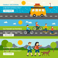 Outing banner set horizontal with outdoor activities elements isolated vector illustration Royalty Free Stock Photo