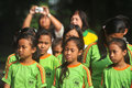 Outing class student children sing during the to the city park in solo indonesia Royalty Free Stock Photo