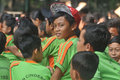 Outing class student children sing during the to the city park in solo indonesia Stock Photography