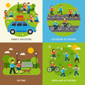 Outing flat set design concept with family vacation vector illustration Stock Image