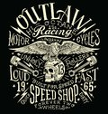 Outlaw Motors Vintage T-shirt Graphic Royalty Free Stock Photo