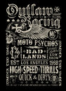 Outlaw Racing vintage poster t-shirt graphic Royalty Free Stock Photo