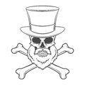 Outlaw skull with beard high hat and cross bones portrait vector crossbones logo template bearded rover t shirt insignia design Stock Images