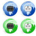 Outlet socket world globe Stock Photo