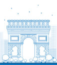 Outline Arch of Triumph. France Paris. Royalty Free Stock Photo