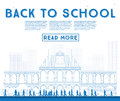 Outline Back to School. Banner with School Bus, Building and Stu