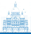 Outline Basilica of the Sacred Heart, Paris, France Royalty Free Stock Photo