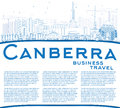 Outline Canberra Skyline with Blue Buildings and Copy Space.