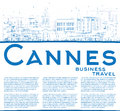 Outline Cannes Skyline with Blue Buildings and Copy Space. Royalty Free Stock Photo