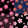 Outline cherry flowers background in dark colours spring or summer or apple seamless pattern ornament for the wallpapers Stock Image