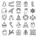 Outline christmas icons collection.