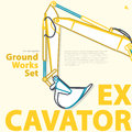 Outline color set with excavator part. Typographic layout themed earthworks.