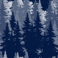 Outline drawing of spruce forest seamless image in winter Royalty Free Stock Photography