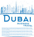 Outline Dubai City skyline with blue skyscrapers and copy space Royalty Free Stock Photo