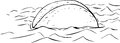 Outline of floating taco in water freehand cartoon sketch single corn shell Royalty Free Stock Photos