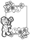 Outline frame with shamrock contour and teddy bear. Raster clip