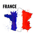 The outline of the France with a watercolor flag inside. Vector illustration Royalty Free Stock Photo