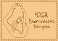 Outline girl in bow yoga pose illustration with slim Royalty Free Stock Photos