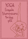 Outline girl in bridge yoga pose illustration with slim Stock Image