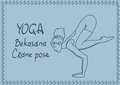 Outline girl in crane yoga pose illustration with slim Stock Images