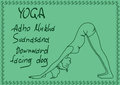Outline girl in downward facing dog yoga pose illustration with slim Royalty Free Stock Images